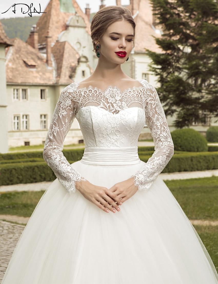 adln 2017 elegant long sleeve wedding dress ball gown garden lace applique bridal wedding gown cheap