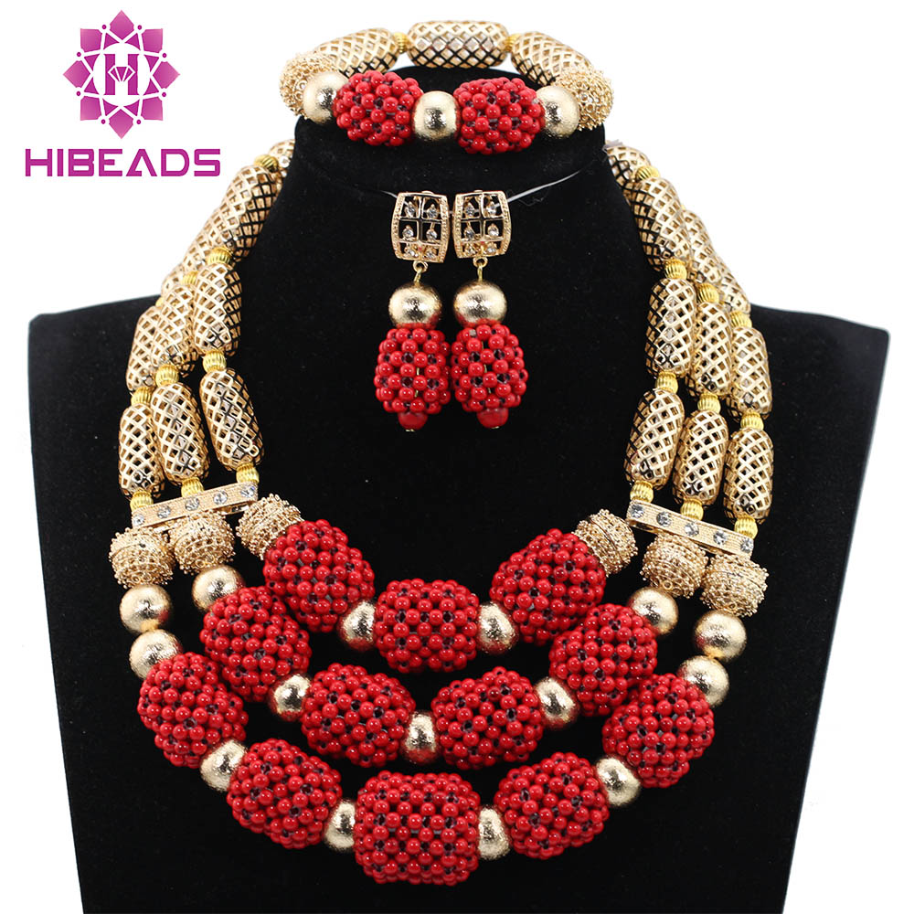 Charming Red Coral Beaded Statement Necklace Set Red and Gold Chunky Wedding Jewelry Set for Brides 2017 Free Shipping CNR764 carefree carefree салфетки plus large fresh ароматизированные 36 шт