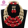 Charming Red Coral Beaded Statement Necklace Set Red and Gold Chunky Wedding Jewelry Set for Brides 2017 Free Shipping CNR764