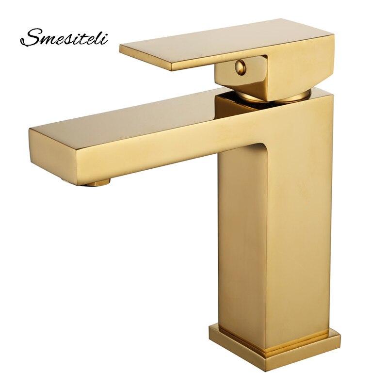 Smesiteli 10 anos de garantia estilo luxo acabamento de ouro latão torneira da bacia misturador água fria e quente da bacia único punho