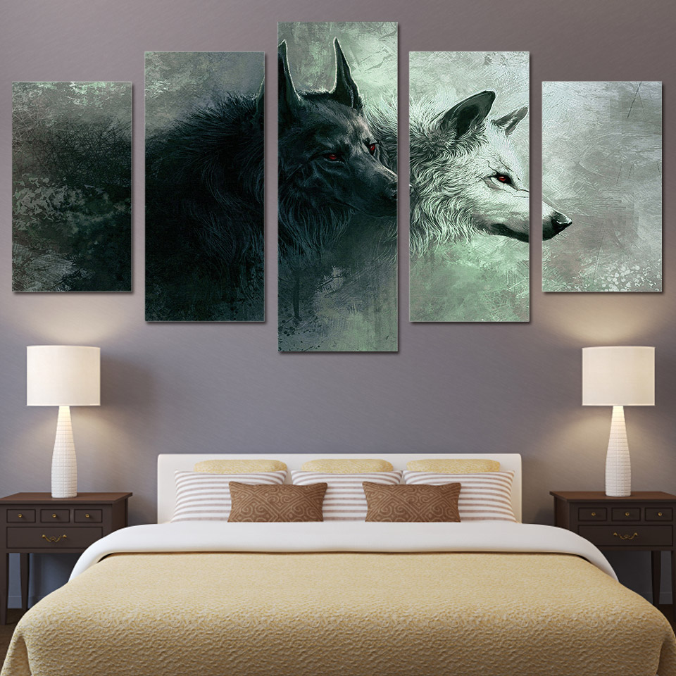 hd 5 piece printed animal wolf art canvas modular paintings bedroom wall art canvas home decoration for living room up 467 in painting calligraphy from - Wall Paintings For Bedroom