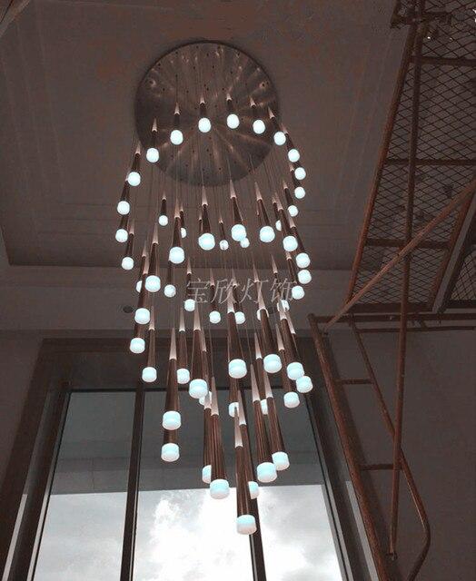 Große treppenhaus led kegel kronleuchter beleuchtung h3 5m penthouse ...
