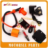 Racing Ignition Coil & AC CDI 6 Pin & D8TC Spark Plug & 5 wire Regulator Rectifier & 12V Relay Kit For 150 200cc 250cc ATV Quad