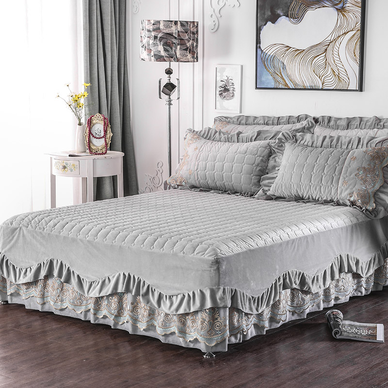 Princess Plush Warm Ruffled Lace Bed Skirt Quilted Flannel Fleece Bedspread Pillowcase 3pcs Queen King Size Bedding Set