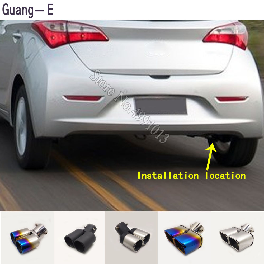 Car Body Stickers Cover Muffler Exterior Back End Pipe Dedicate Exhaust Tip Tail Outlet Ornament 1pcs For Hyundai HB20 2013-2018
