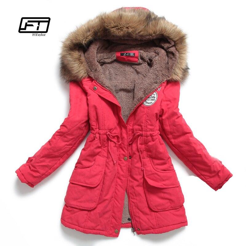 Nouveau hiver femmes veste mi-longue épaissir grande taille 4XL outwear manteau à capuche ouatine slim parka coton-rembourré veste pardessus