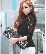 Feitong 2017 Fashion Korean Slim Coat Office Clothes Women Sexy Long Sleeve Lace Crochet Small Blazer Jacket feminino