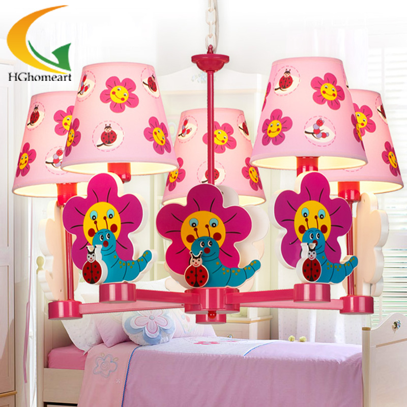Childlike cute girl room chandelier Led chandeliers creative cartoon princess pink children's led lamp