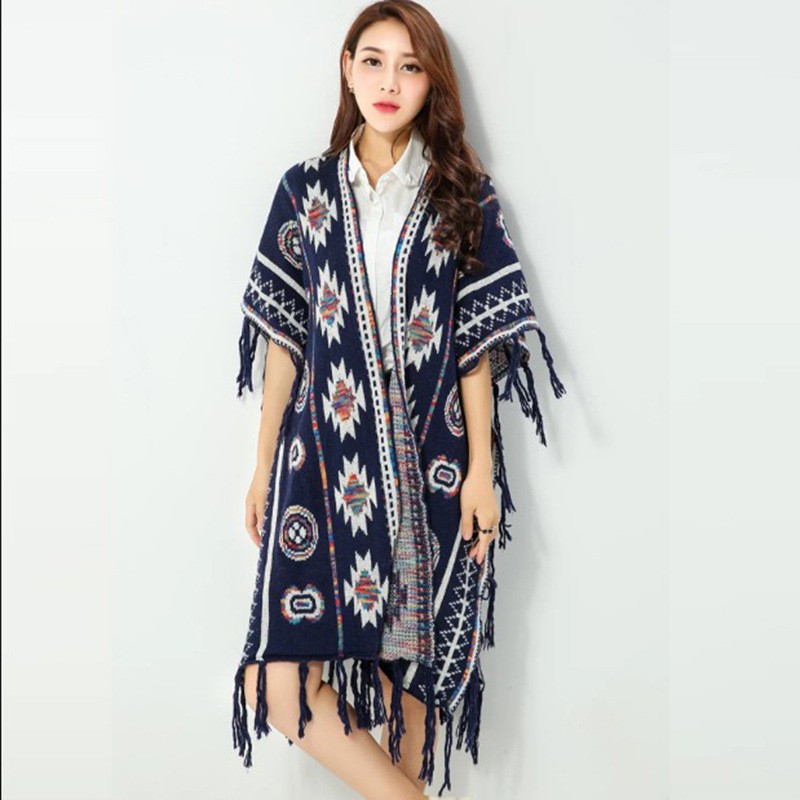 Žene 3 boje Aztec dugi kardigan Vintage Geo Uzorak rese Pleteni - Ženska odjeća - Foto 1