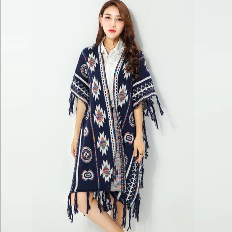 8411de1d4b Women 3 Colors Aztec Long Cardigan Vintage Geo Pattern Tassel Drop Knitted  Sweater 2016 Fall Casual Loose Poncho Ethnic Cape