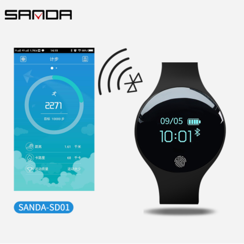 SANDA Smart Watch for IOS Android Bluetooth Men Women Sport Fitness Bracelet Intelligent Pedometer for iPhone Clock Men Watches in Women 39 s Watches from Watches