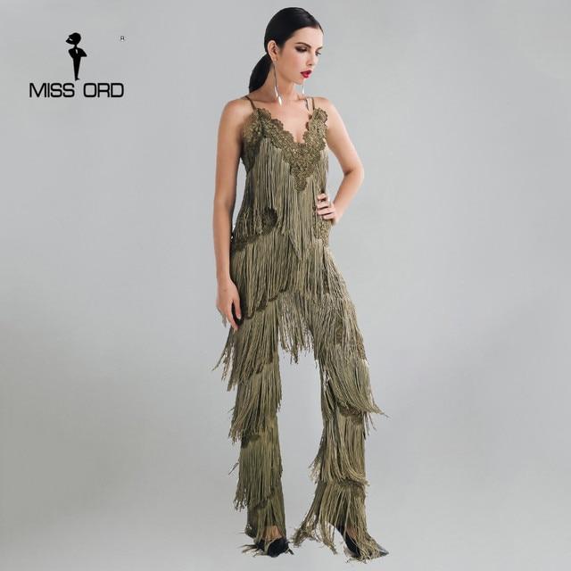 MISSORD 2017 Sexy sleeveless V-NECK  halter lace tassel jumpsuits FT4661-2