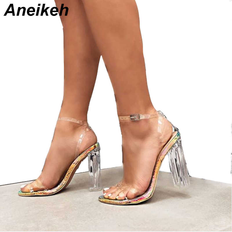 Aneikeh Summer 2019 Rome PU Women Sandals Round Toe Clear Glass Square High Heel Transparent Buckle Strap Office Serpentine 4-11