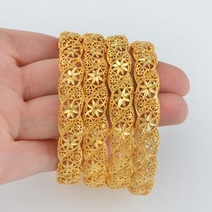 Image 3 - Anniyo 4 יח\חבילה, האתיופית זהב צבע חתונה צמיד לנשים דובאי הכלה צמיד אפריקאי תכשיטי מזרח התיכון פריטים #088206
