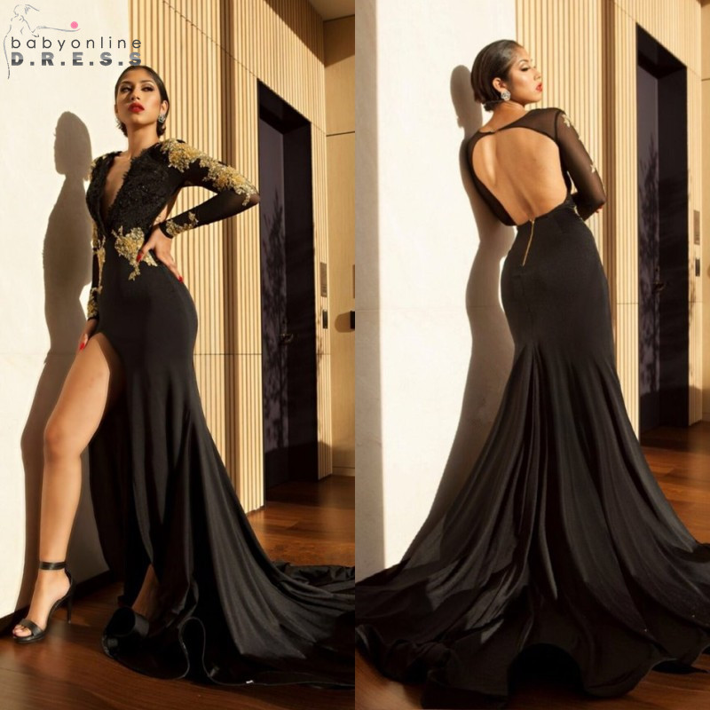 Sexy Deep V Neck Side Slit Golden Lace Long Sleeve   Prom     Dresses   2019 Open Back Black Evening Party   Dresses   Robe de Soiree
