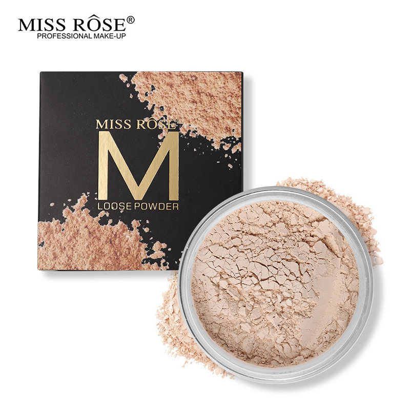 Miss Rose 12 Colors Face Foundation Makeup Transparent Loose Powder Oil-control Silky Setting Powder Mineral Matte Finish Tools