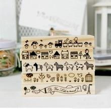 Купить с кэшбэком sello de scrapbooking DIY Wooden Stamp animal/house/train/rabbit/plane/bird rubber stamps 5 different patterns for chosen