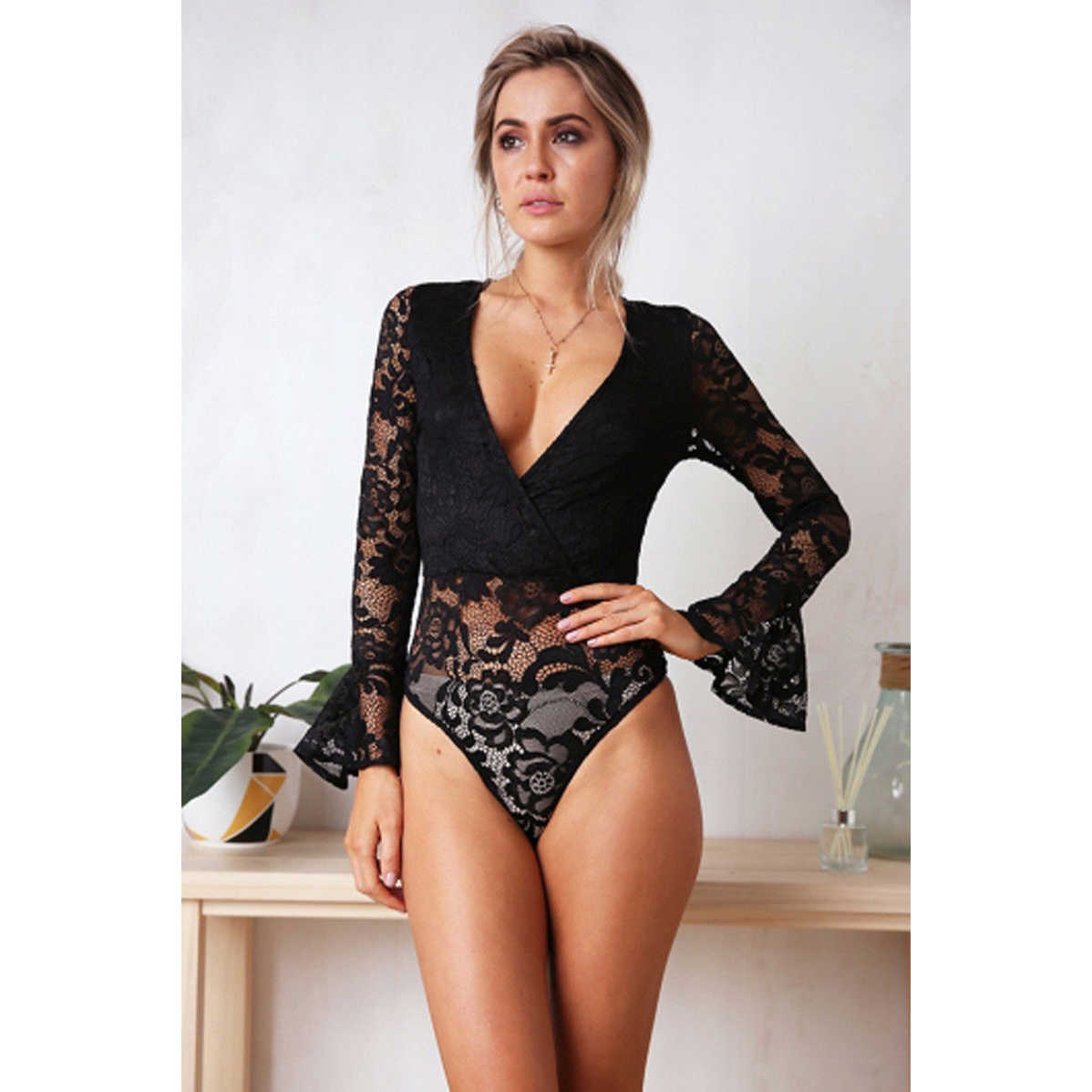37cf4d40b Detail Feedback Questions about Women Sexy Lingerie exotic Bodysuit elegant  Lace long Sleeve Catsuit V neck Attractive Leotard Underwear hot lenceria  ...