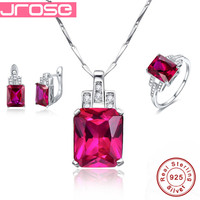 Jrose Famous Brand Women Accesssories Red Wedding Ring Earings Pendant Necklace 925 Sterling Silver Jewelry Sets Fine Jewelry