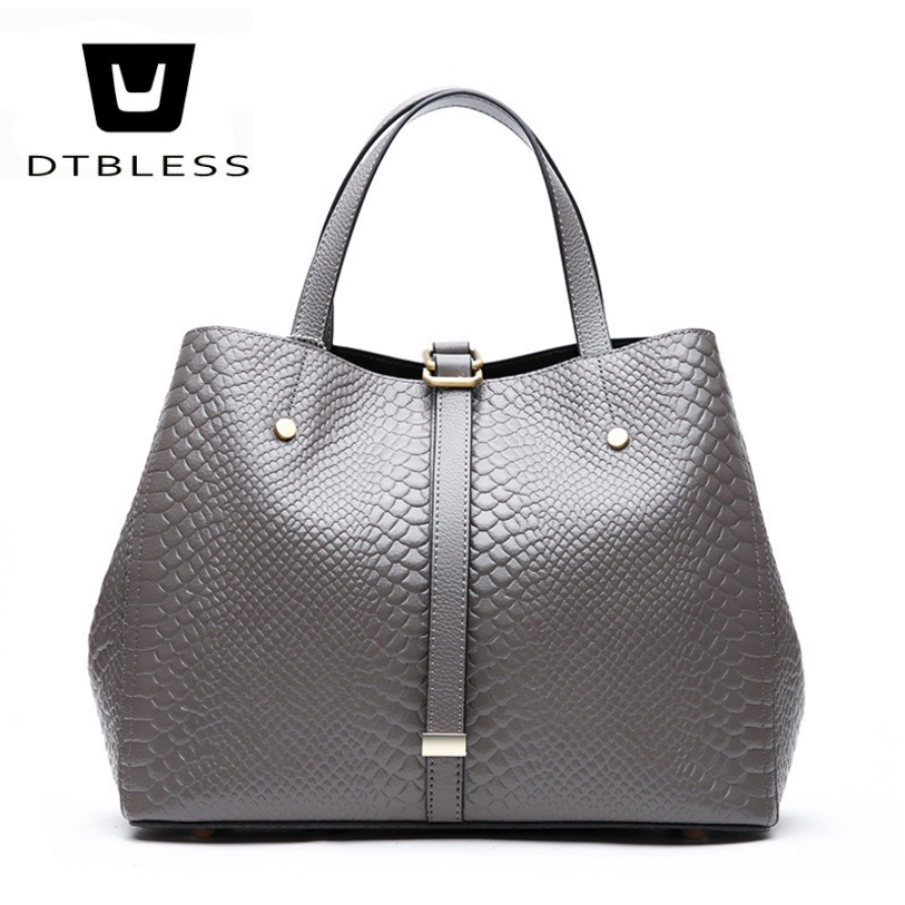 DTBLESS Women's Genuine leather bags Lady's Polyester shoulder bag 2018 New Fashion Female Cow leather Crossbody Bag D18031005 aetoo the new oil wax cow leather bags real leather bag fashion in europe and america big capacity of the bag