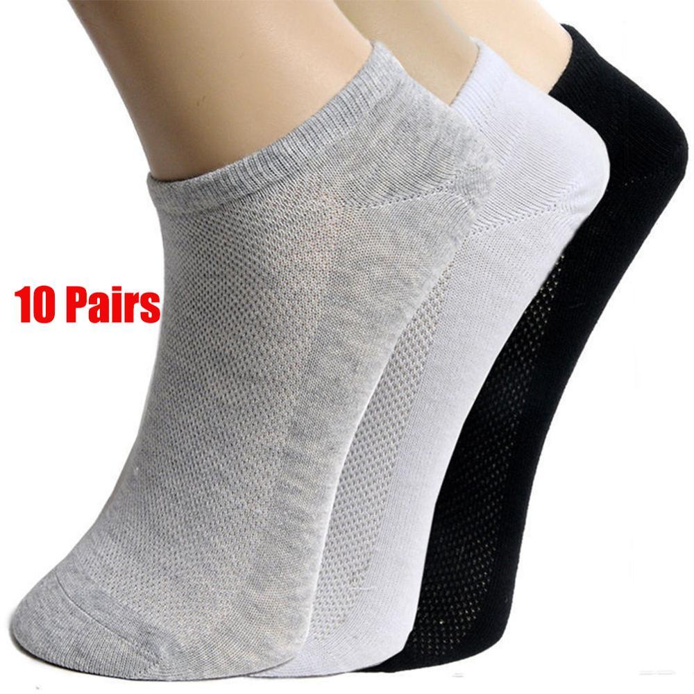 20Pcs=10Pair Solid Mesh Men's Socks Invisible Ankle Socks Men Summer Breathable Thin Male Boat Socks HOT SALE 2019