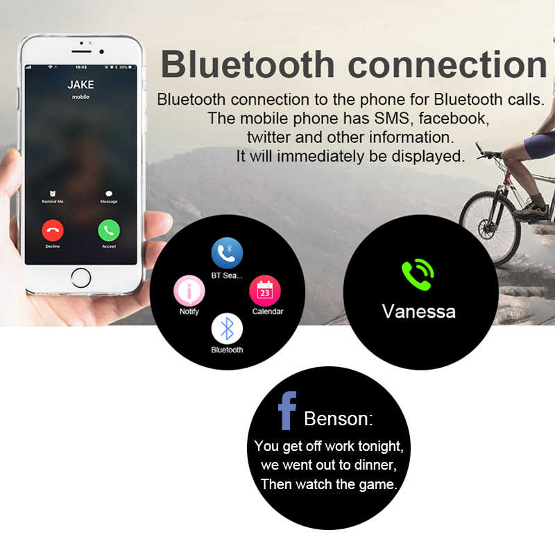 Reloj inteligente MAFAM R18 Bluetooth para hombre Android IOS resistente al agua con ranura para tarjeta SIM recordatorio de llamadas reloj inteligente rastreador de fitness