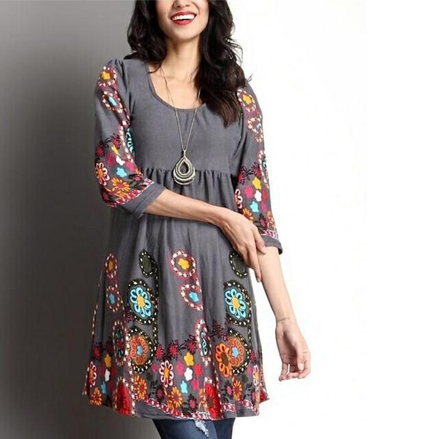 7cb96fb378877 Women Tunic Tops T Shirt Floral Printed O Neck Long Sleeve Pullover Autumn  Ruffled Casual Plus Size 5XL Shirt Camiseta 6Q1165