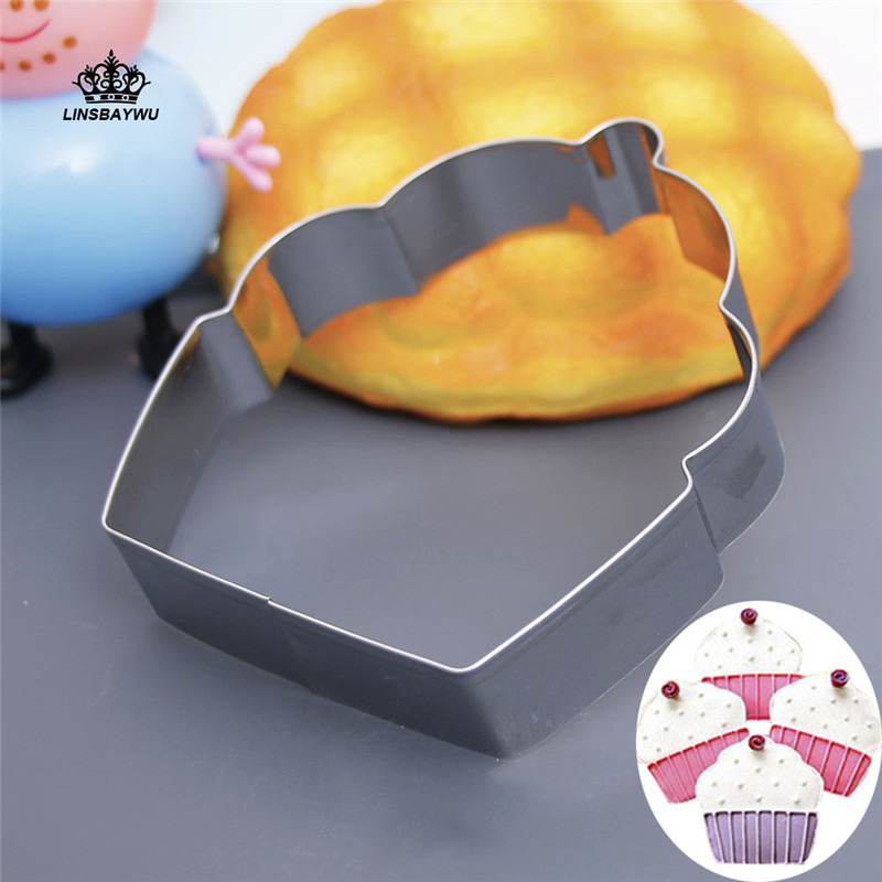 1Pcs Hot Sale Cupcake Shaped Cookie Cutter Stainless Steel Biscuit Cutter DIY Fondant Pastry Molds Mousse Ring