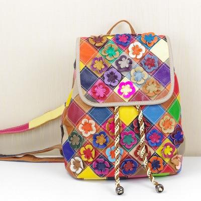Fashion Tide Package national wind leather female bag handmade flower stitching leather shoulder bag genuine leather backpacks все цены