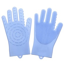Silicone  Gloves Scrubbing Reusable Sponge Scrubber Great for Dish Washing Kitchen Car Household Bathroom Toilet Bathtub magic cleaning sponge gloves with soft bristles reusable silicone brush heat resistant scrubber gloves for kitchen bathroom