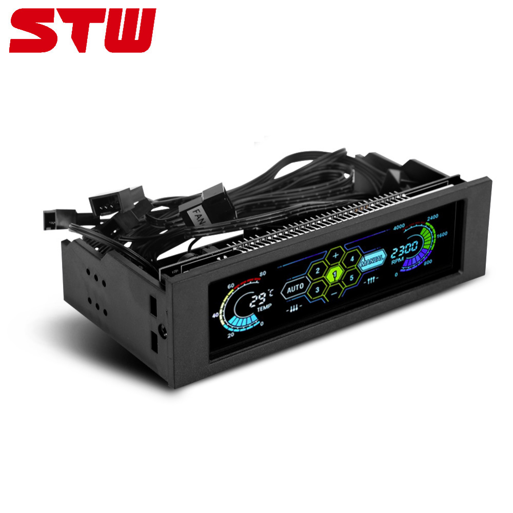 STW 5036 5-Fans Controller Cooler CPU Temperature Sensor Computer Cooling Drive Bay Front LCD Panel PC Fan Controller