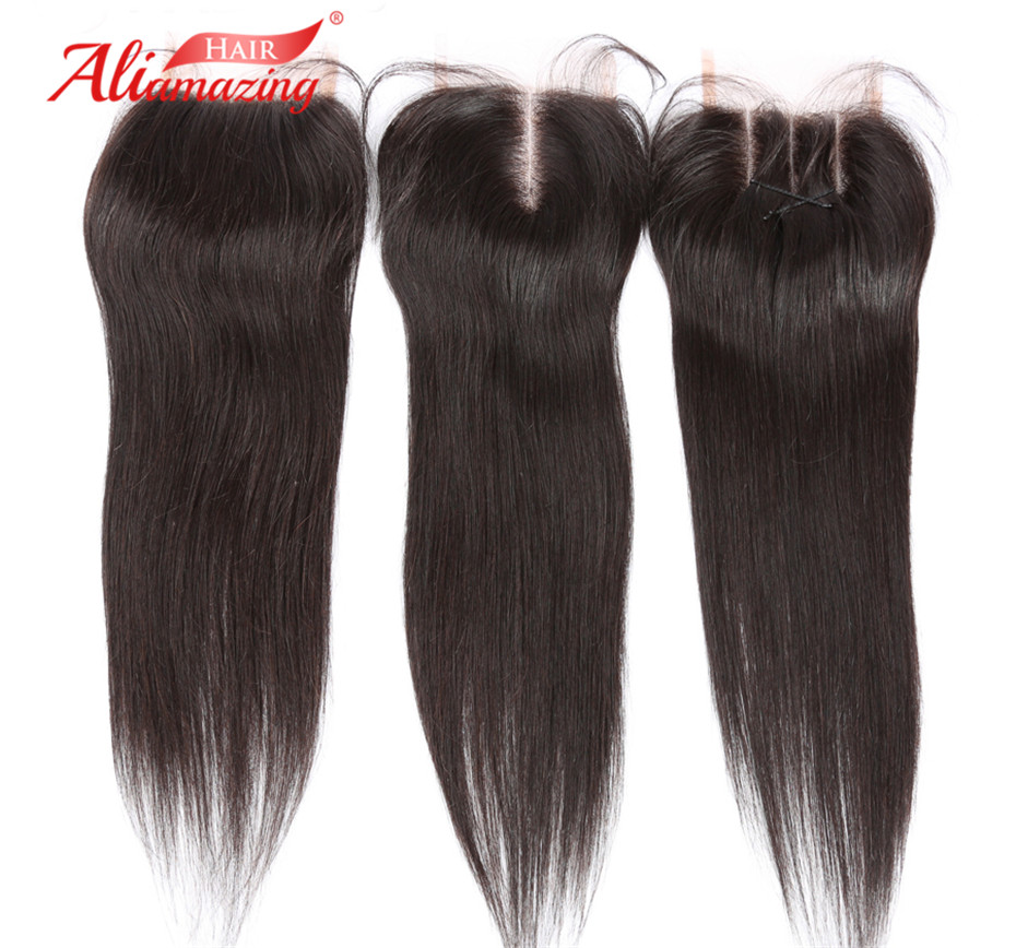 Ali Amazing Hair Brazilian Non-Remy Straight Hair Free Part 4x4 Swiss Lace Closure #1B Natural Color 100% Human Hair Closure