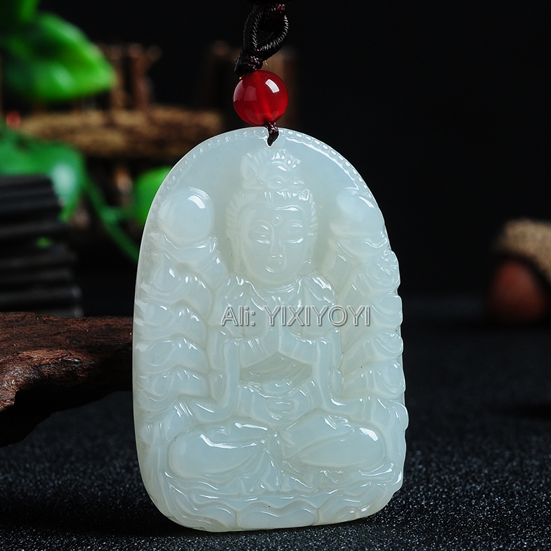 Beau Jade HeTian blanc naturel sculpté chinois mille main GuanYin pendentif chanceux + collier gratuit certificat bijoux fins