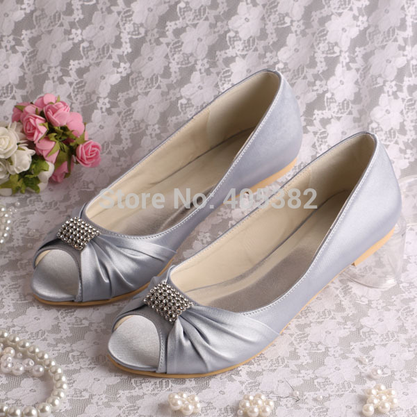 Hot Selling Silver Satin Bridal Wedding Shoes Ballet Flats Crystal Peep Toe In Womens From On Aliexpress