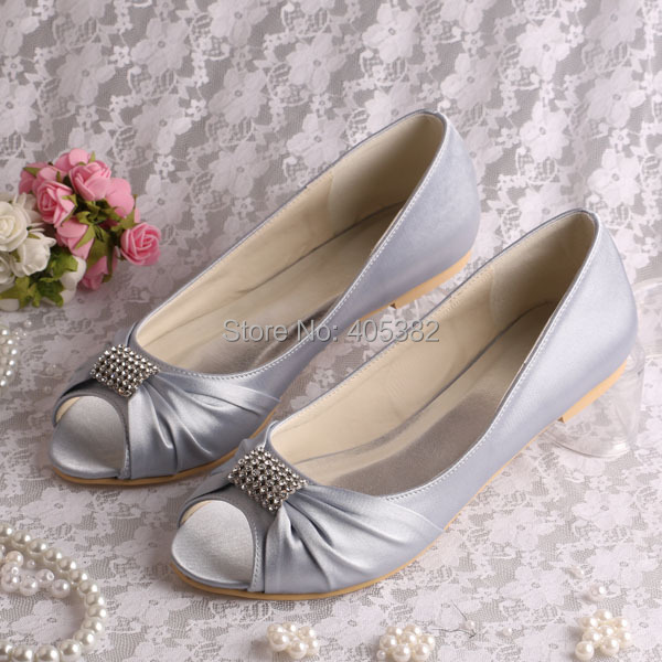Hot Ing Silver Satin Bridal Wedding Shoes Ballet Flats Crystal P Toe