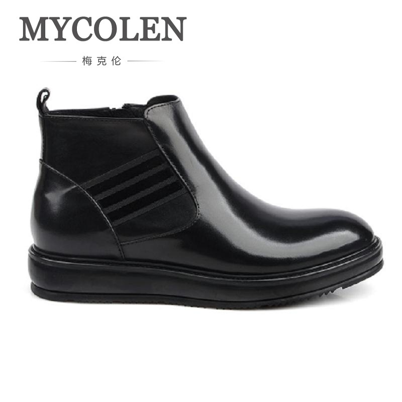MYCOLEN Chelsea Boots Men Shoes Ankle Military Boots Men Cow Leather Boots For Men Spring Autumn Thickening Bottom Rubber Shoes mycolen spring autumn men genuine leather chelsea boots vintage pointed toe ankle outdoor boots wear resistant male shoes
