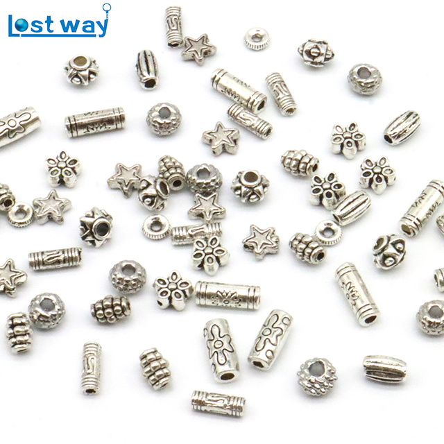 Lost Way 100pcs Metal Vintage Silver Bead Zinc Alloy Er Loose Beads For Bracelet Jewelry