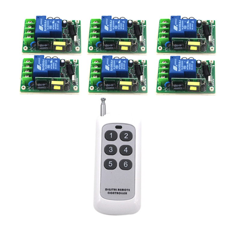 AC85V-280V Wireless Remote Control Switch 6 Receiver+1Transmitter 20-1000M 3000W Wide Voltage input RF 315/433MHz 4128 free shipping 315 433mhz ac85v 250v rf 1ch wide voltage multi function wireless remote control
