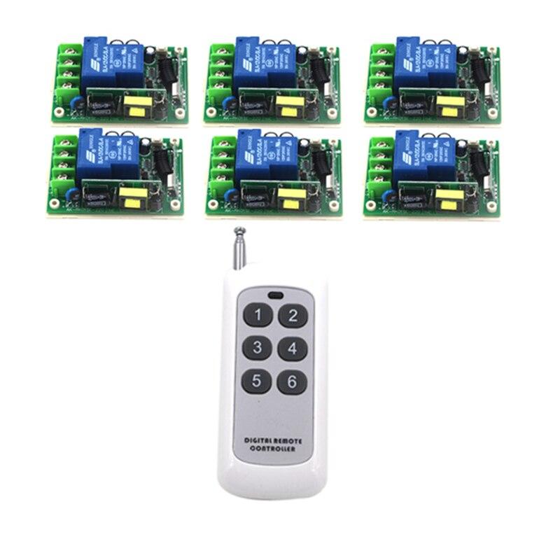 AC85V-280V Wireless Remote Control Switch 6 Receiver+1Transmitter 20-1000M 3000W Wide Voltage input RF 315/433MHz 4128 315 433mhz ac85v 250v rf 4ch 1000m wide voltage multi function fr wireless remote control switch system switch