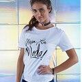 2016 Повседневная Топы Тис майка Женская Одежда viva la moda письмо Печати футболки С Коротким Рукавом Белый О-Образным Вырезом Футболка Femme Плюс Размер