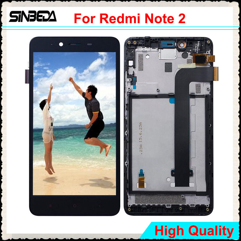 "Sinbeda 5.5"" LCD For Xiaomi Redmi Note 2 LCD Display Touch Screen Digitizer Assembly With Frame For Redmi Note 2 LCD Replacement"