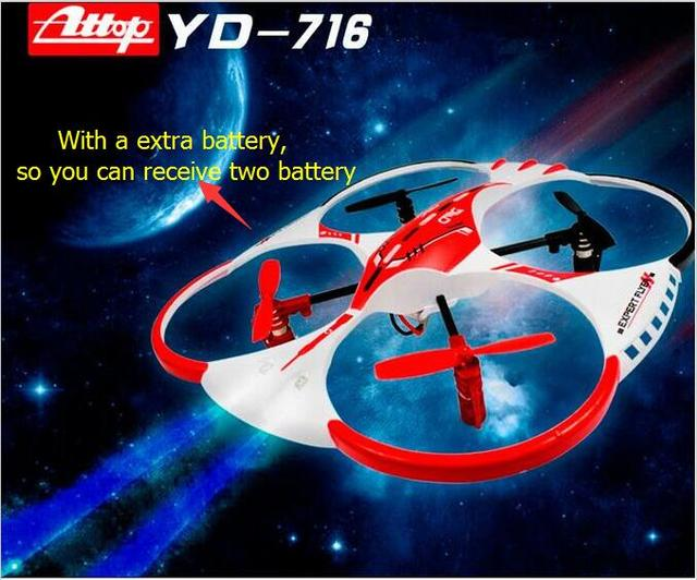 Newest ATTOP YD-716 RC Drone 4 Ch 2.4G  6-Axis Flight Control UFO Quadcopter with LED Light 3D Eversion Electric Helicopter