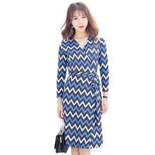 2017 Summer Women V-Neck Cropped Sleeve Knee Length Wave Striped Wrap Dress Ladies Knitted Office Dresses