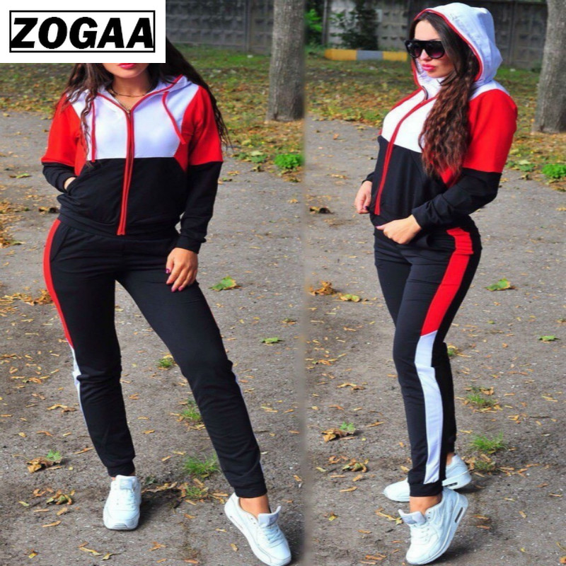 ZOGAA Women Plus Size Tracksuit Two Piece Set Casual Sport Suit Womens 2 Piece Sets Sportswear 2019 Zipper Tracksuit Female