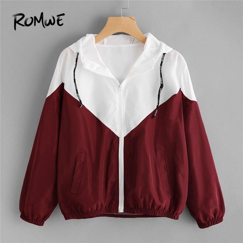 ROMWE Fashion Hooded Two Tone Windbreaker Jacket Zipper Pockets Coats And Jackets 2018 Autumn Women Clothes Long Sleeves Outwear