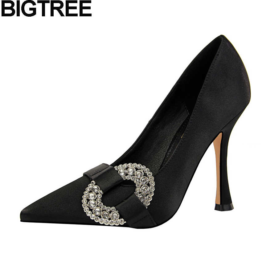 BIGTREE High Quality Sexy Women High Heels Pointed Toe Satin Silk Pumps  Buckle Rhinestone Crystal Shoes 698bae83b7f2