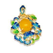 2017 Nueva Flor Azul Del Esmalte Calcedonia Colgante de Plata Esterlina 925 Genuinos Amarillo