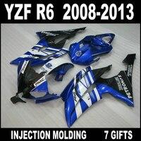 Free customize for 2008 2009 2013 white blue black YAMAHA R6 fairings 08 09 10 11 12 13 YZF R6 fairing kit GKH85+7 free gifts