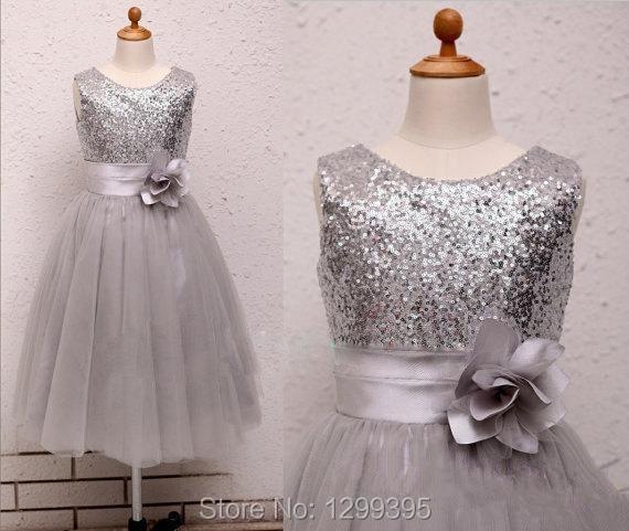 Free Shipping Dark Gray Sequins Lace Flower Girl Dresses Little Girl ... 113e729a7e0e