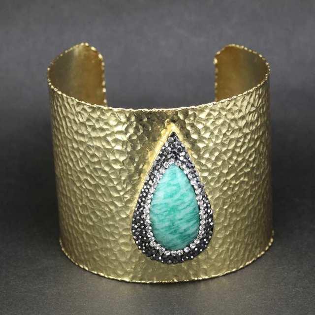 Cuff Bangle 2015 Fashion Women Bracelet Gift Wristband Jewelry 24K Gold Plated Druzy Natural Stone Skull Charm Cuff Bangle